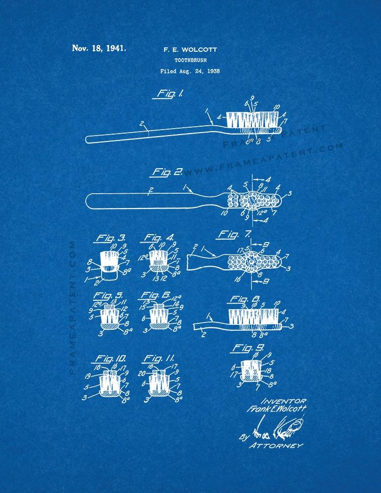 Blueprint de impresin de patente de cepillo de dientes ebay toothbrush patent print poster blueprint malvernweather Image collections