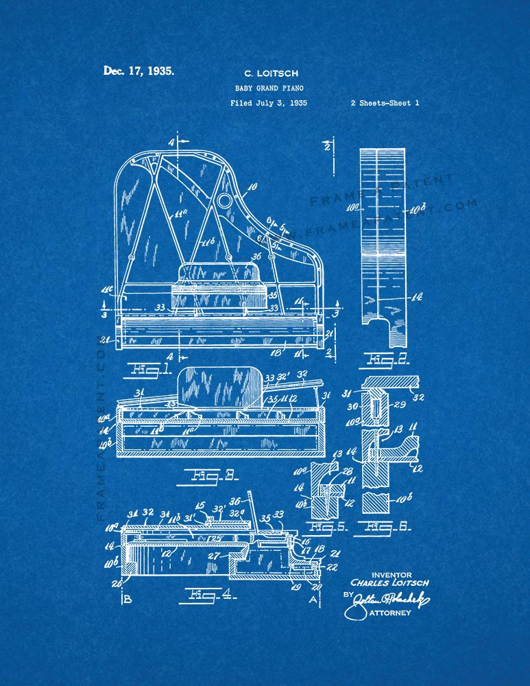 Baby grand piano patent print blueprint ebay baby grand piano patent print blueprint malvernweather