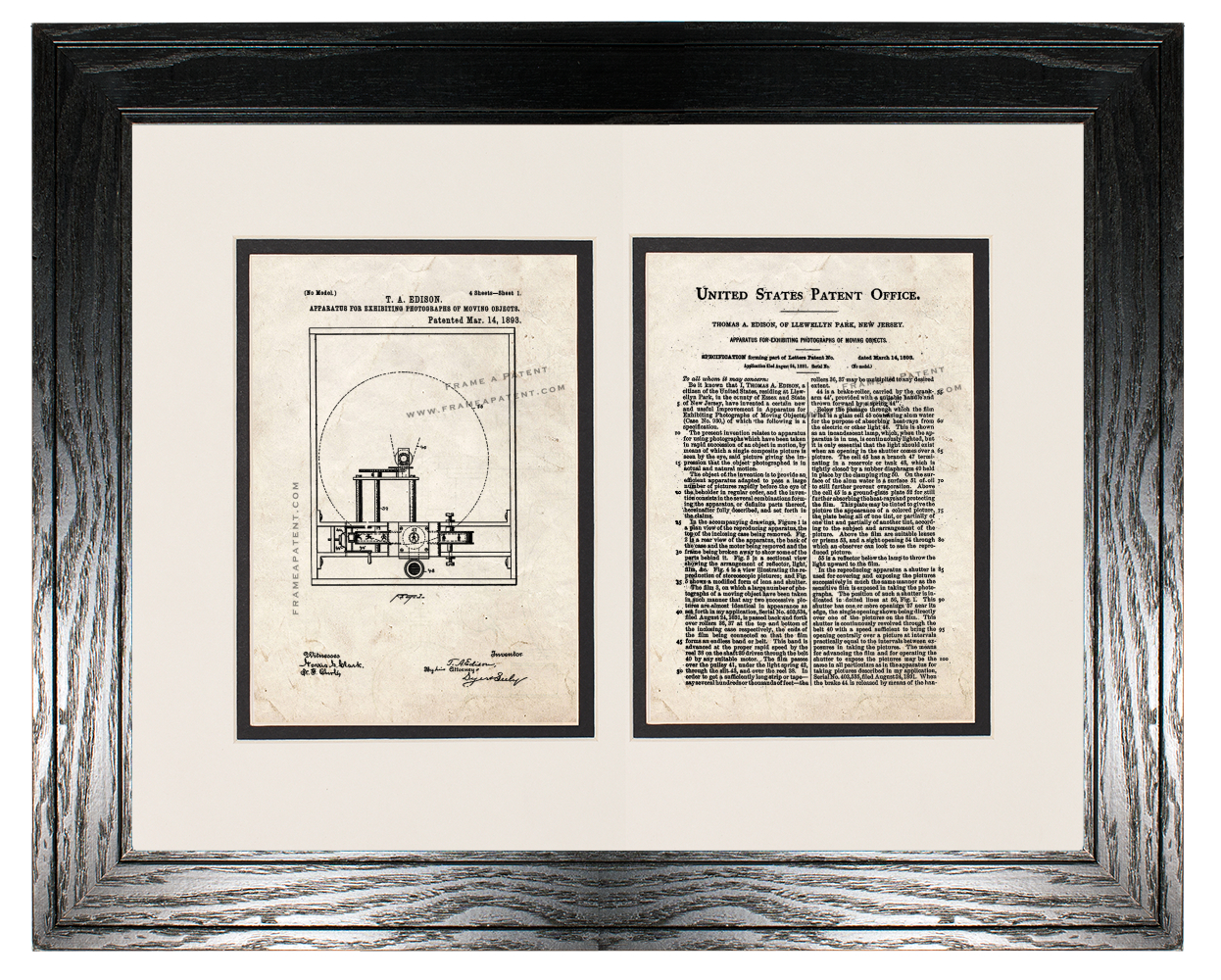 Edison Motion Picture Camera Patent with Two Pages Old Look