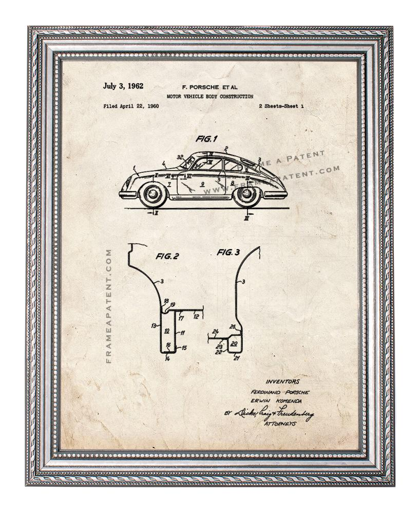 Porsche Patent Print Old Look In A Silver Ornate Frame