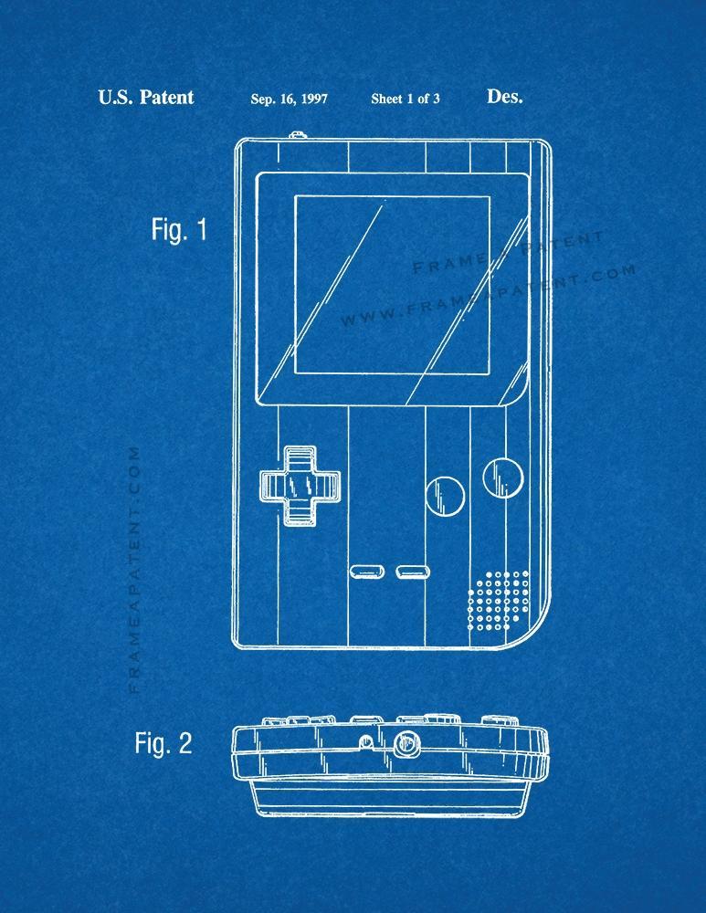 Blueprint de impresin de patente de nintendo gameboy ebay nintendo gameboy patent print blueprint malvernweather Image collections