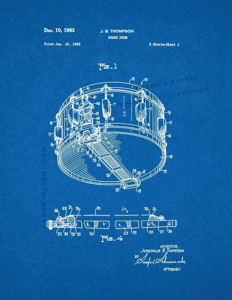 Blueprint de impresin de patentes redoblante ebay snare drum patent print poster blueprint malvernweather Image collections