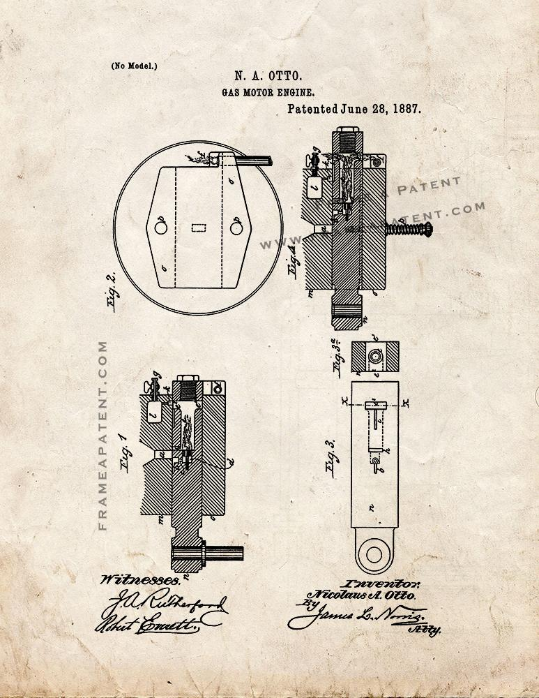 Gas Motor Engine Patent Print - Old Look (5x7) on