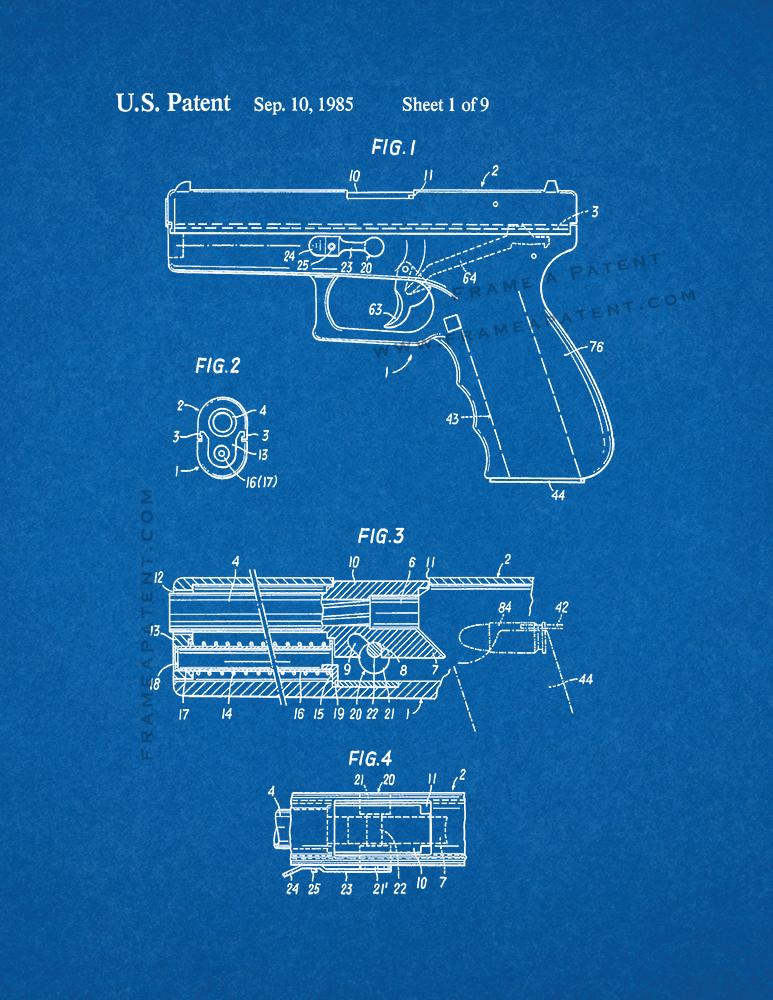Glock 17 gun patent print blueprint ebay for Where to print blueprints