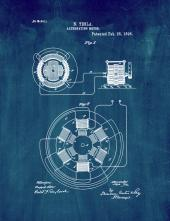 Tesla Alternating Motor Patent Print