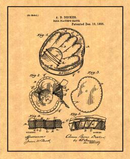 BaseBall Player's Glove Patent Print