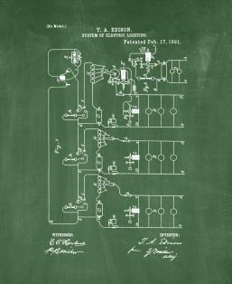 Thomas Edison System Of Electric Lighting Patent Print