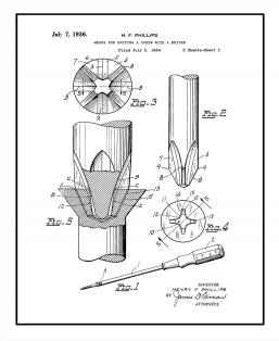 Phillips head Screwdriver Patent Print