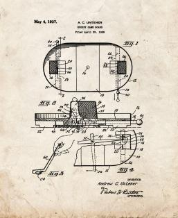 Hockey Game Board Patent Print