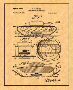 Self-digging Military Tank Patent Print