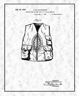 Hunting And Fishing Vest Patent Print