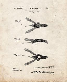 Fishing Artificial Bait Patent Print