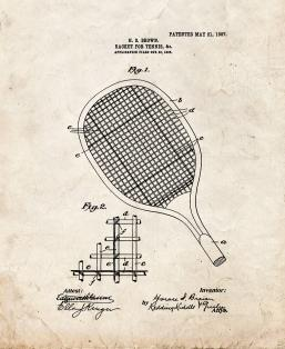 Racket For Tennis Patent Print