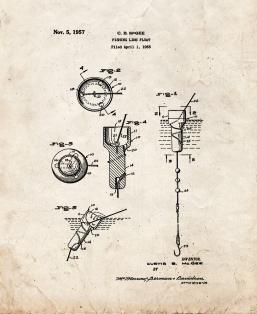 Fishing Line Float Patent Print