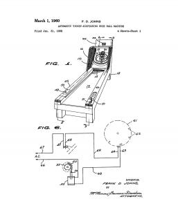Automatic Ticket-dispensing Skee Ball Machine Patent Print