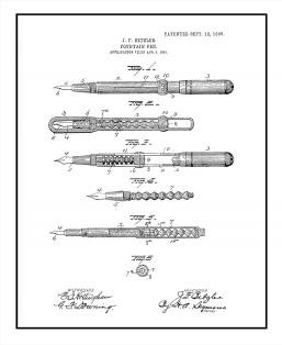 Fountain Pen Patent Print
