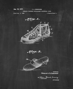 Athletic Footwear Particularly Basketball Shoes Patent Print