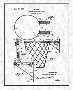 Basketball Goal and Bracket Patent Print