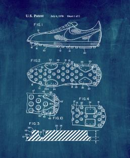 Cleated Sole for Athletic Shoe Patent Print