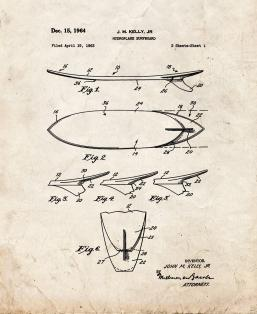 Hydroplane Surfboard Patent Print