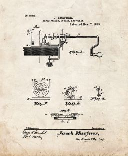 Apple Peeler, Cutter and Corer Patent Print