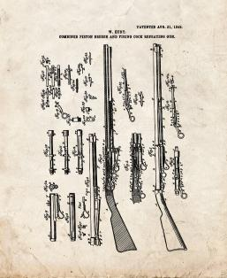 Combined Piston-Breech And Firing-Cock Repeating-Gun Patent Print