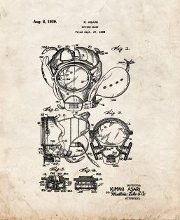 Diving Mask Patent Print