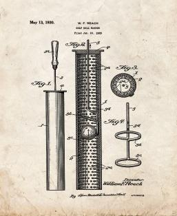 Golf Ball Washer Patent Print