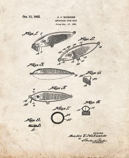 Artificial Fish Bait Patent Print