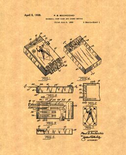 Baseball Card Game and Score Device Patent Print