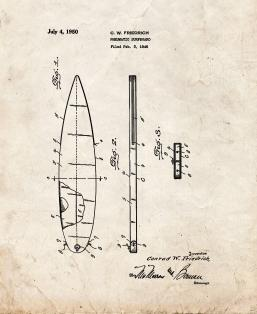 Pneumatic Surfboard Patent Print