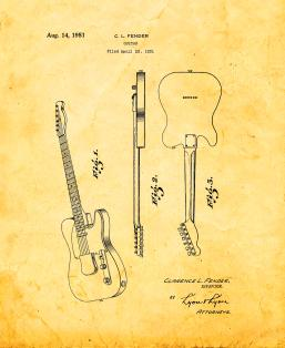 The Clarence Fender Telecaster Patent Print