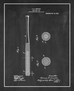 Base-ball Bat Patent Print