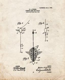 Fishing Line and Float Patent Print