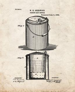 Fishing Bait Kettle Patent Print