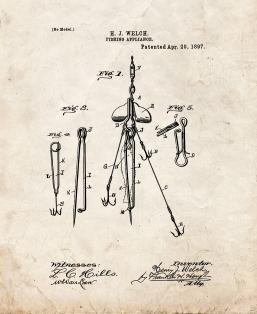 Fishing Appliance Patent Print