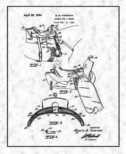Horse Saddle Patent Print