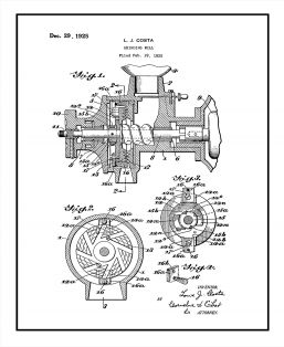 Coffee Grinding Mill Patent Print