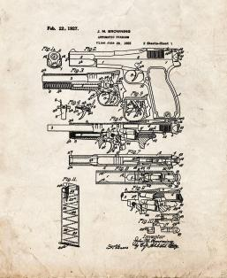FN and Browning Hi-Power Pistol Patent Print