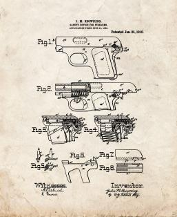 FN Model 1906 and Colt Model 1908 Vest Pocket in .25 ACP Patent Print