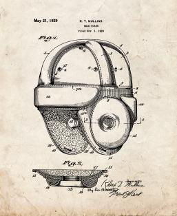 Football Head Guard Helmet Patent Print