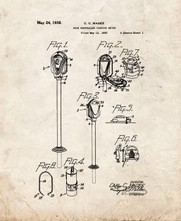 Coin Controlled Parking Meter Patent Print