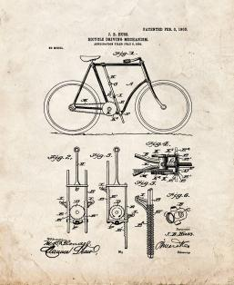 Bicycle Driving Mechanism Patent Print