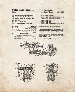 Transformable Toy Assembly Patent Print