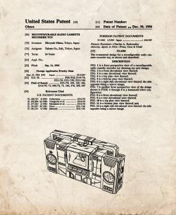 Transformers Reconfigurable Radio Cassette Recorder Toy Patent Print
