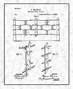 Barb Wire Fence Patent Print