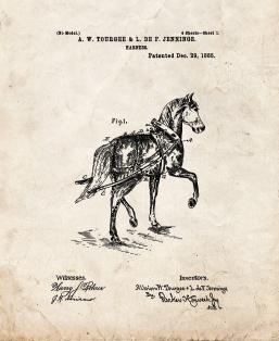 Horse Harness Patent Print