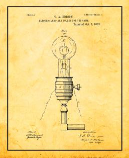 Edison Electric Lamp And Holder For The Same Patent Print