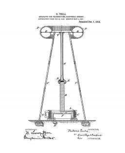 Tesla Apparatus For Transmitting Electrical Energy Patent Print