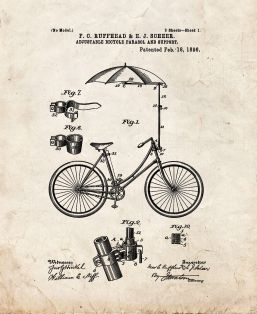 Adjustable Bicycle Parasol And Support Patent Print